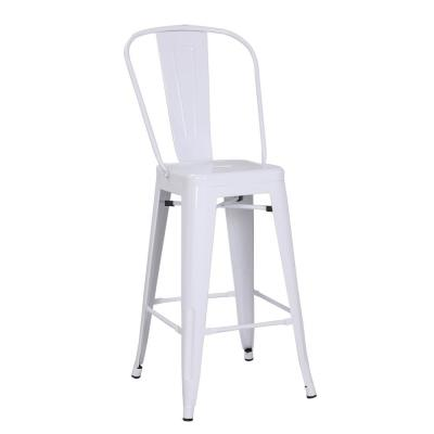 Farmhouse Gloss Metal Dining Room Kitchen Barstool, Set of 2, Glossy White