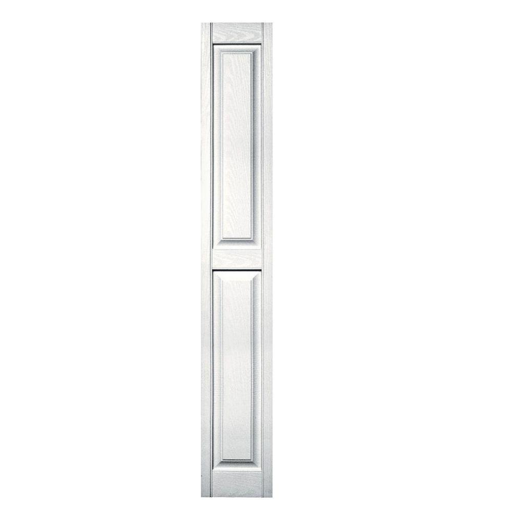 Builders Edge 12 in. x 80 in. Raised Panel Vinyl Exterior Shutters Pair in #117 Bright White