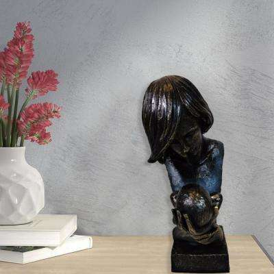 Women Holding Baby in Loving Hands Bust Patina Sculpture