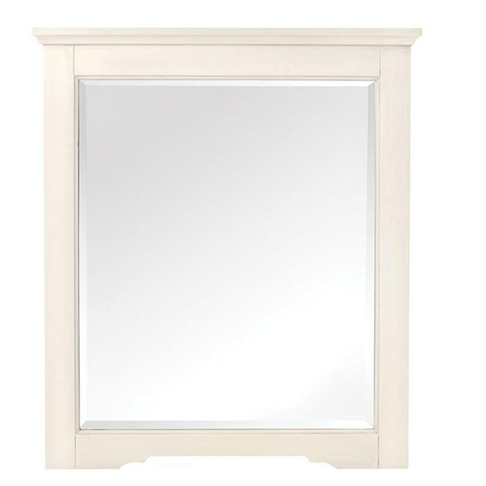 Home decorators collection davenport 32 in h x 28 in w framed wall mirror in ivory 1973000410 Home decorators collection mirrors
