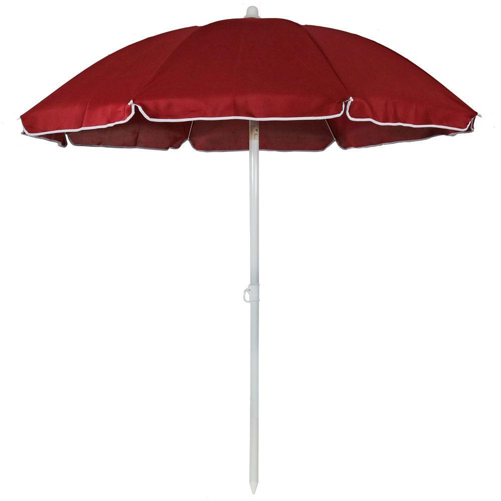 5 ft. Steel Portable Outdoor Beach Tilt Umbrella in Red