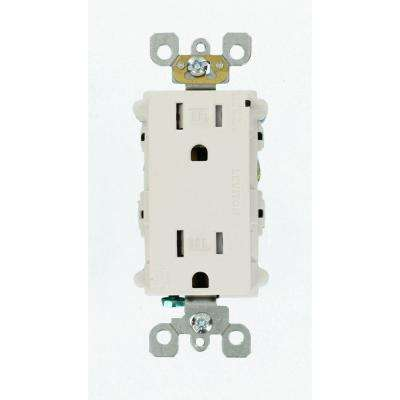 15 Amp Commercial Grade Tamper Resistant Decora Duplex Outlet with Surge Suppressor, White