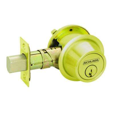Single Cylinder Bright Brass Medium Duty Commercial Deadbolt