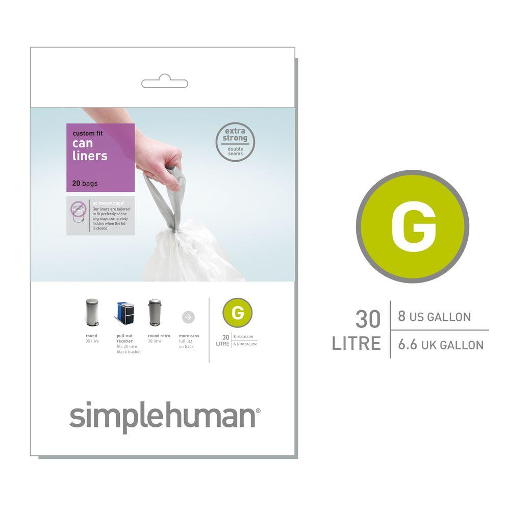 Simplehuman 8 Gal Code G Can Liners 20 Count