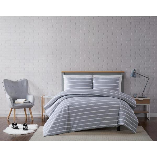 Truly Soft Maddow Stripe Grey Full/Queen 3-Piece Duvet Cover Set