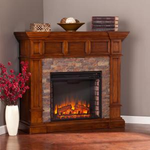 Amesbury in w faux stone corner electric fireplace - Pictures of corner fireplaces ...
