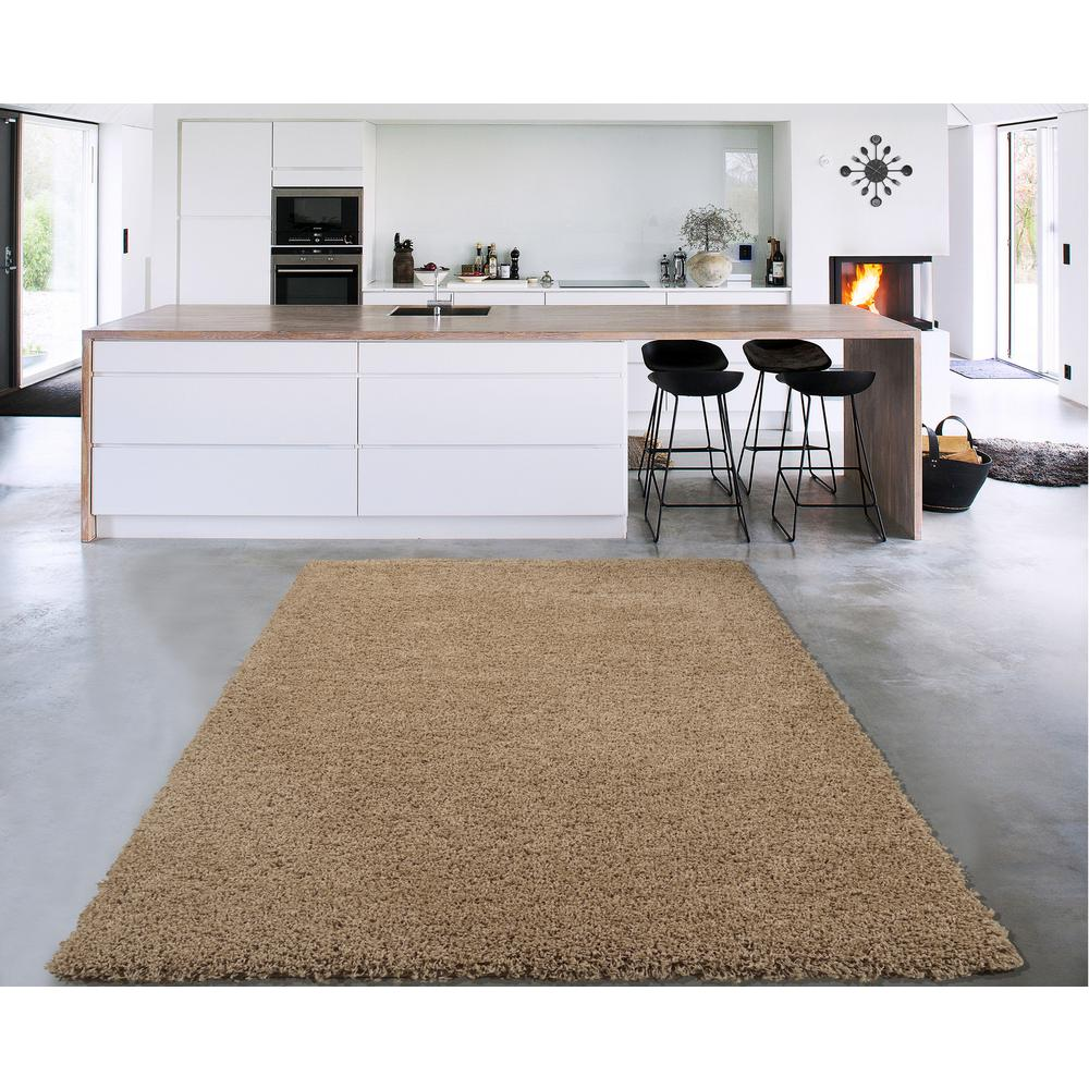 Sweet Home S Cozy Shag Collection Beige 8 Ft X 10 Indoor Area Rug