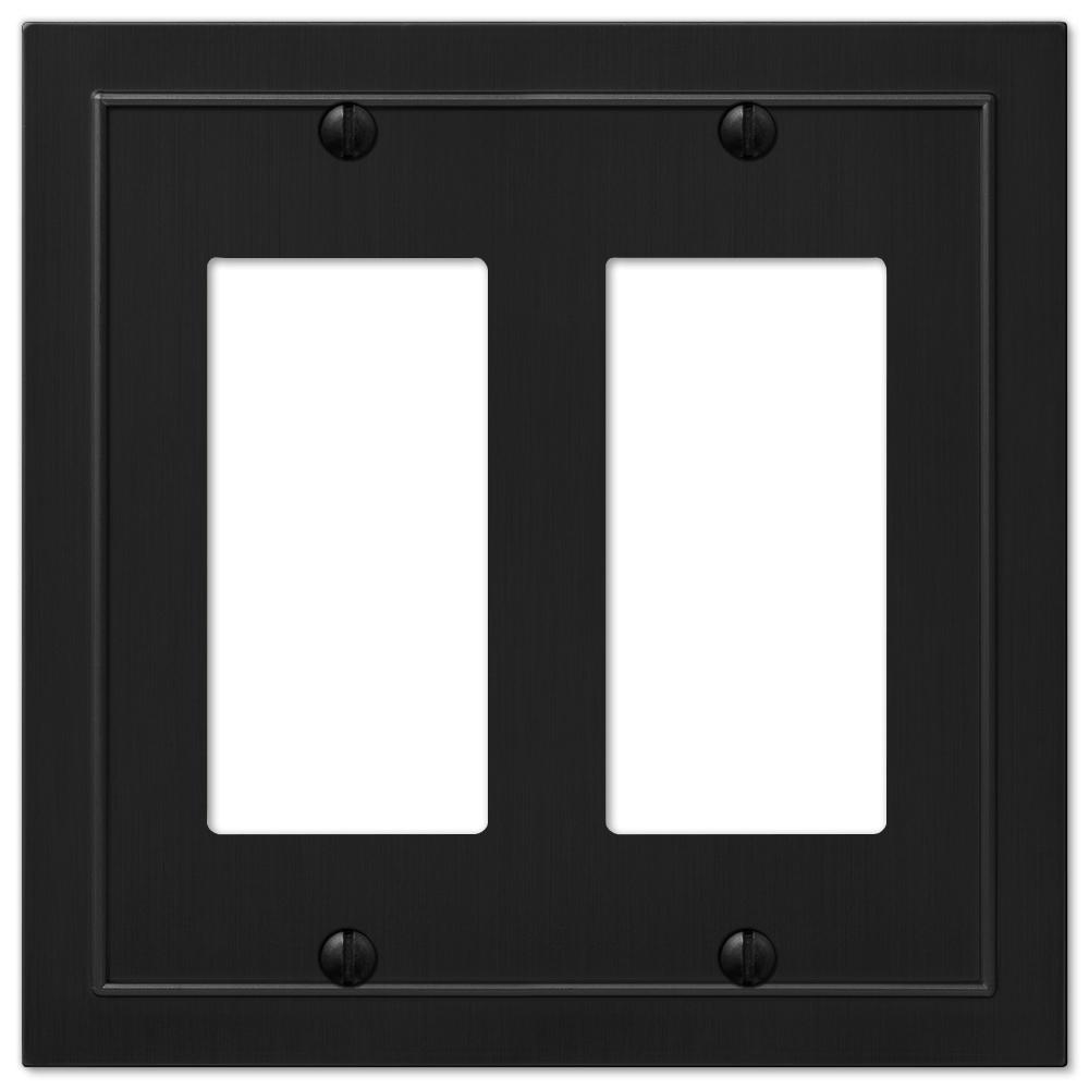 Bethany 2 Gang Rocker Metal Wall Plate - Black