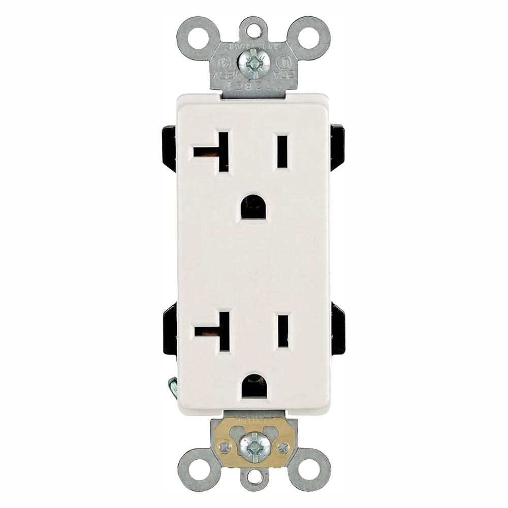 Leviton Decora Plus 20 Amp Duplex Outlet  White  10