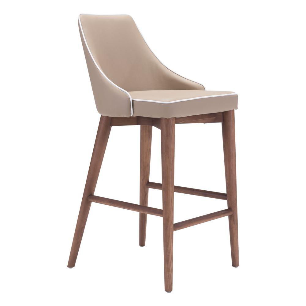 zuo moor 26 in beige cushioned bar stool 100279 the home depot