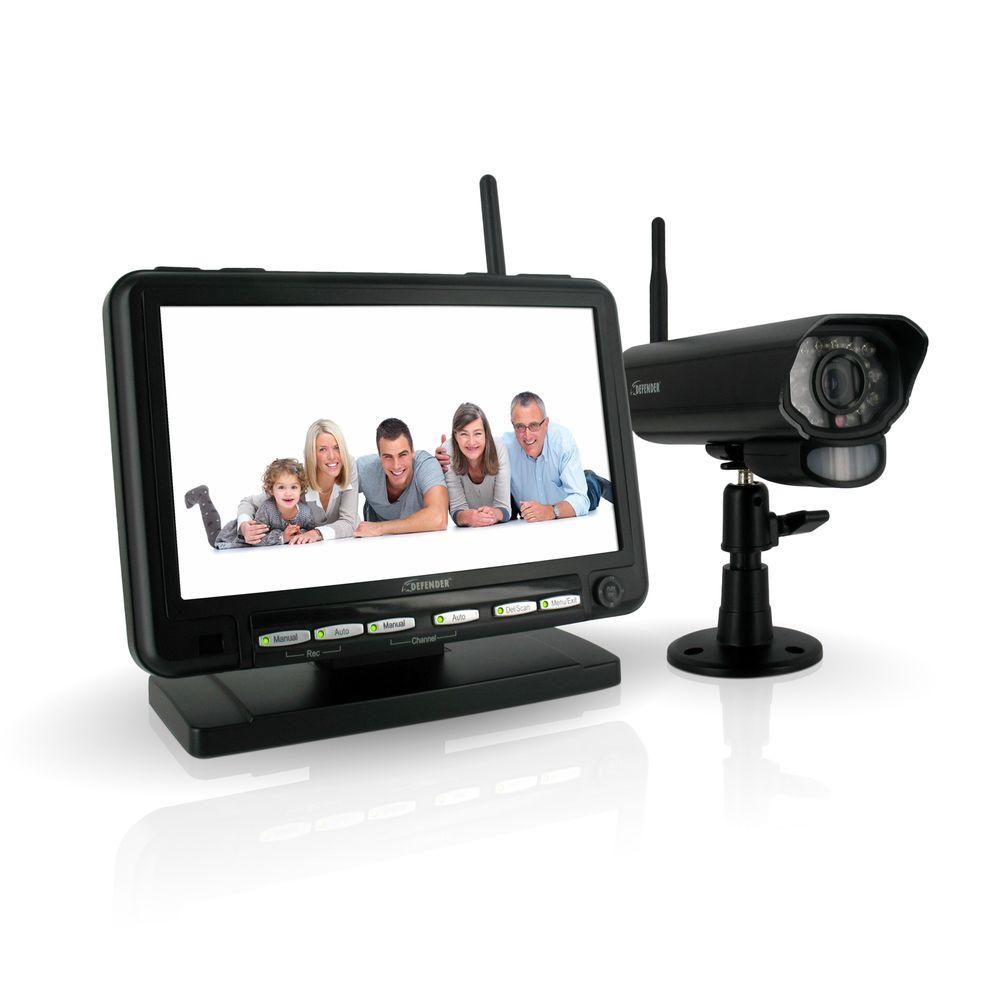 Defender Digital Wireless DVR Security System with 7 in. LCD Monitor SD Card Recording and Long Range Night Vision Camera