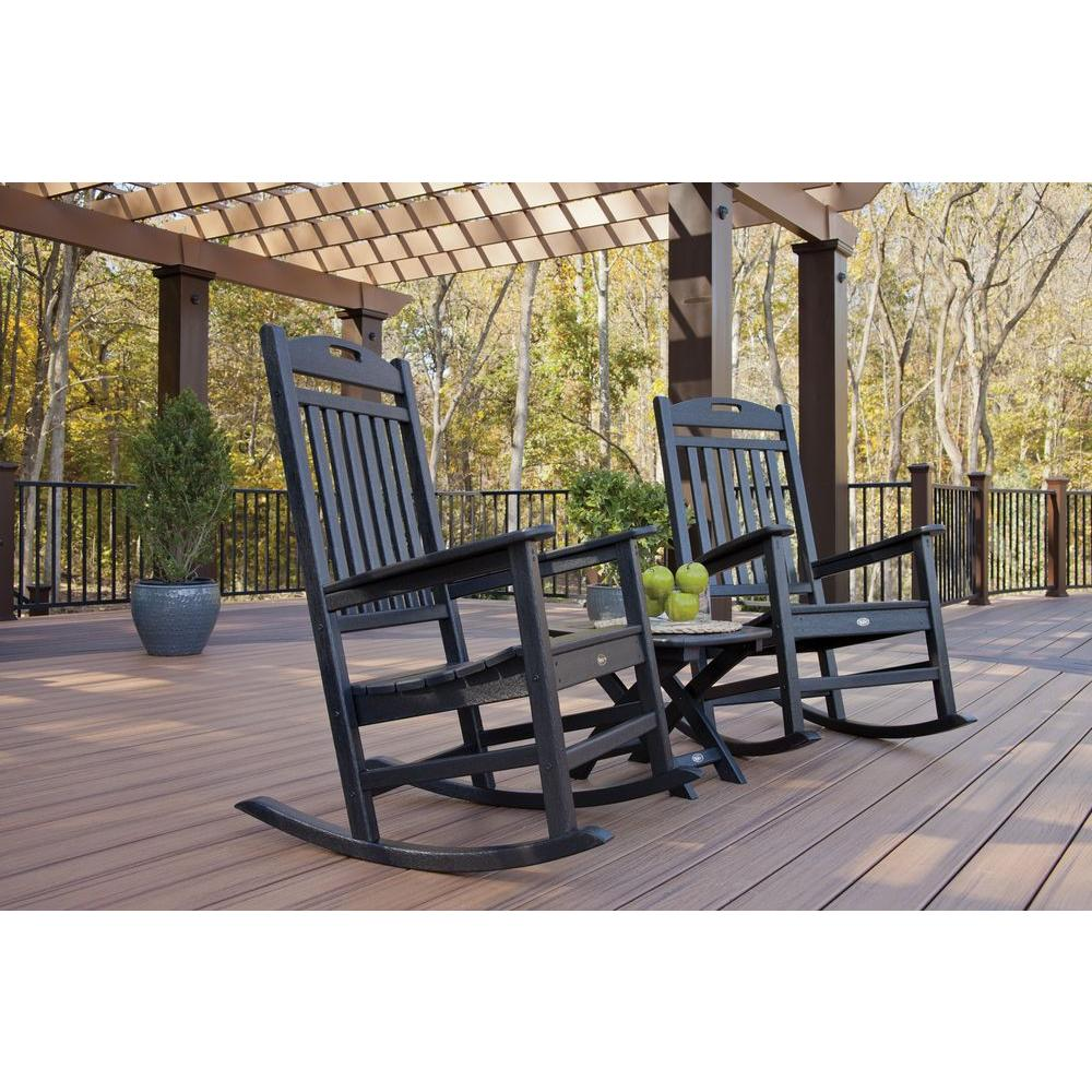 Trex outdoor furniture yacht club charcoal black 3 piece for Black porch furniture