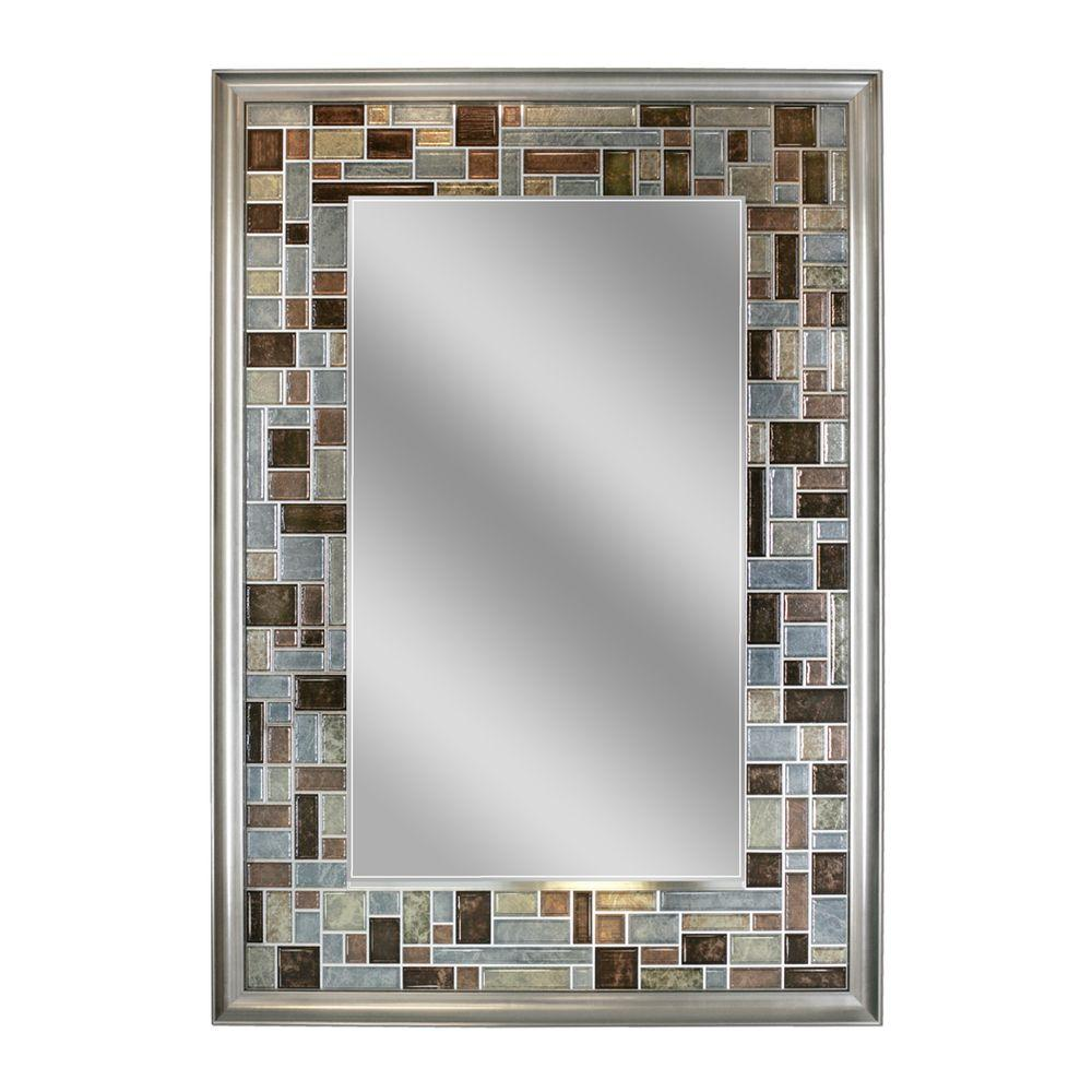 Deco Mirror 34 in. L x 24 in. W Windsor Tile Mirror in Brush Nickel ...