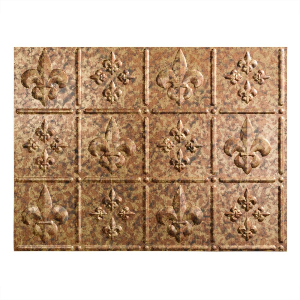 Fasade Fleur De Lis 18 In X 24 Ed Copper Vinyl Decorative Wall