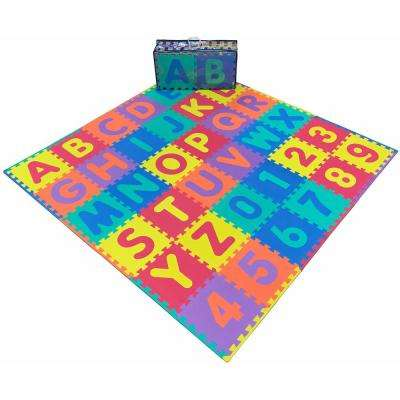 EVA Foam Mat Collection Kids Alphabet and Numbers Design 72 in. x 72 in. Yoga Mat