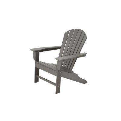 South Beach Slate Grey Plastic Patio Adirondack Chair