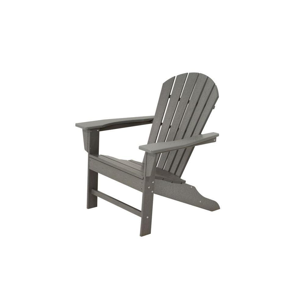 Polywood South Beach Slate Grey Plastic Patio Adirondack Chair Sba15gy The Home Depot