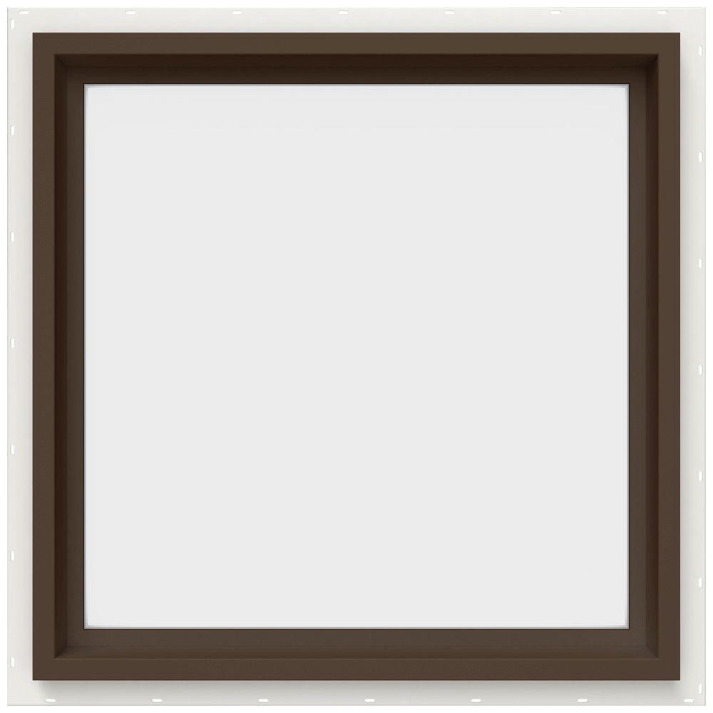JELD-WEN 23.5 in. x 23.5 in. V-4500 Series Fixed Picture Vinyl Window in Brown