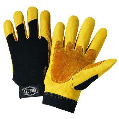 X-Large Grain Cowhide Gloves with Spandex Back, Split Reinforced Palm and Thumb