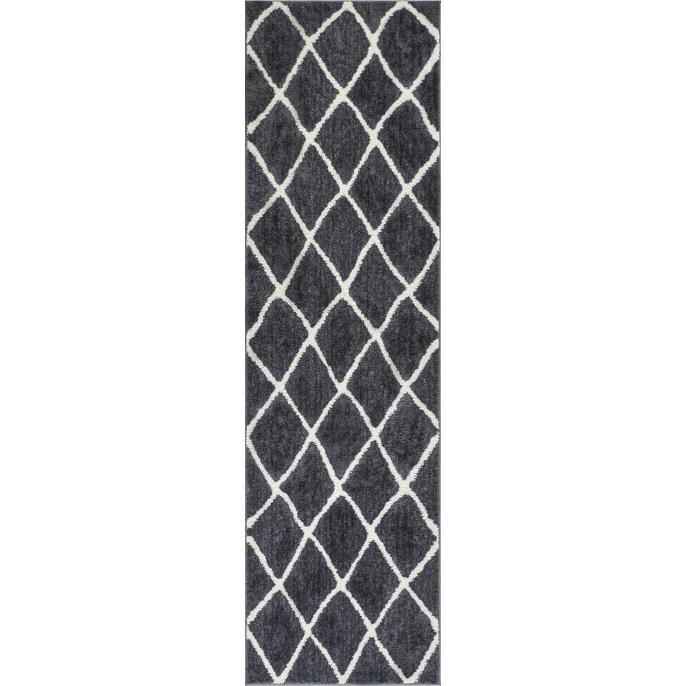 Well Woven Kasper Walton 2 Ft 3 In X 7 Modern Moroccan Trellis Grey Runner Rug