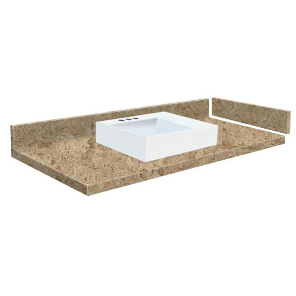 Transolid 42 75 In W X 22 25 In D Solid Surface Vessel Vanity Top In Sand Mountain With White Basin And 4 In Centerset Vt42 75x22 1rv 94 A W 4 The Home Depot