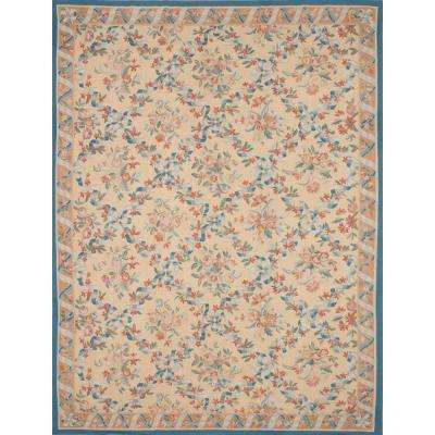 French Tapestry Ivory Wool Sumak 11 ft. x 14 ft. Area Rug