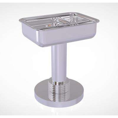 Vanity Top Soap Dish with Groovy Accents in Polished Chrome