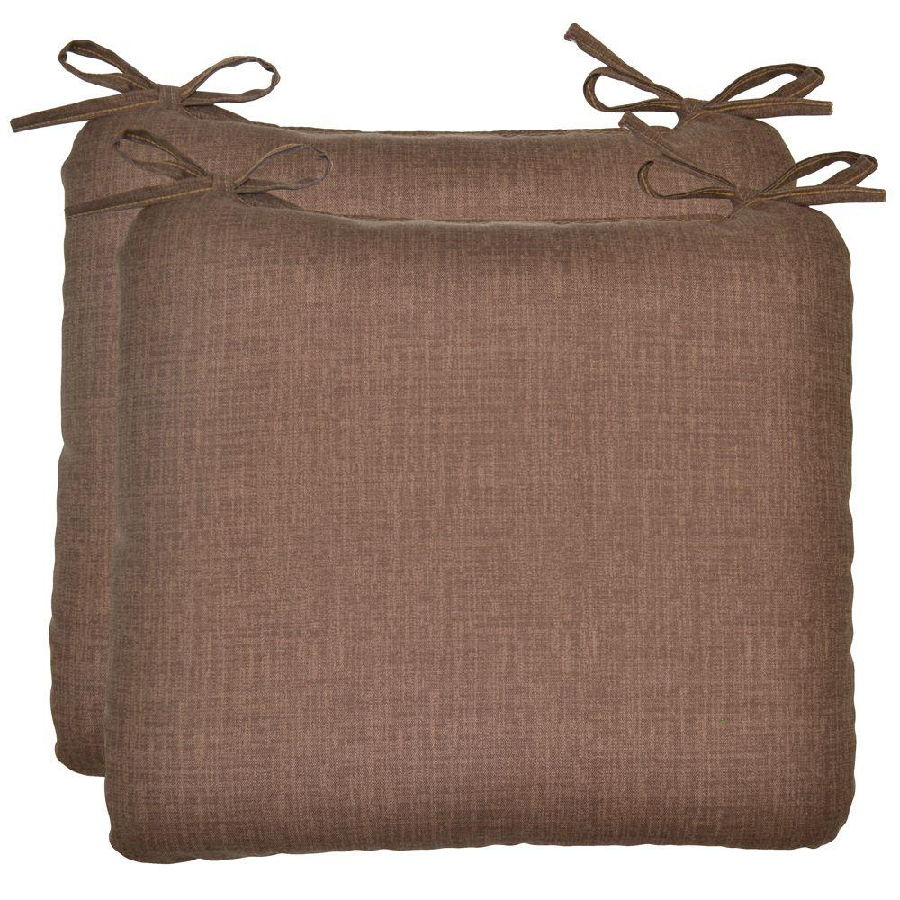 Plantation Patterns Brown Solid Outdoor Seat Pad (2-Pack)-DISCONTINUED