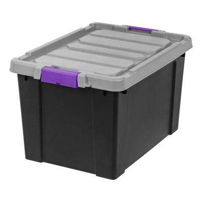 19 Gallon Store-It-All Storage Bin Black with Purple Buckles (2-Pack)