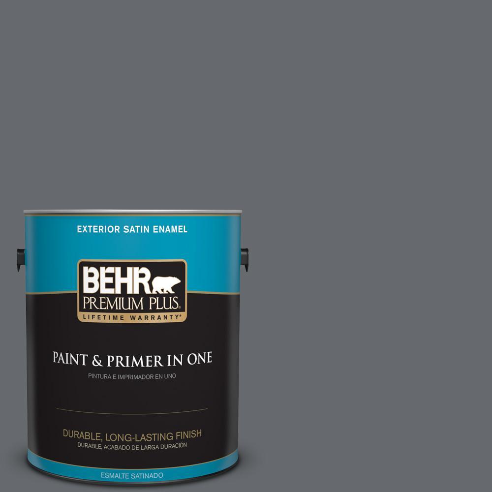 1 gal. #HDC-CL-04G Liberty Bell Gray Satin Enamel Exterior Paint
