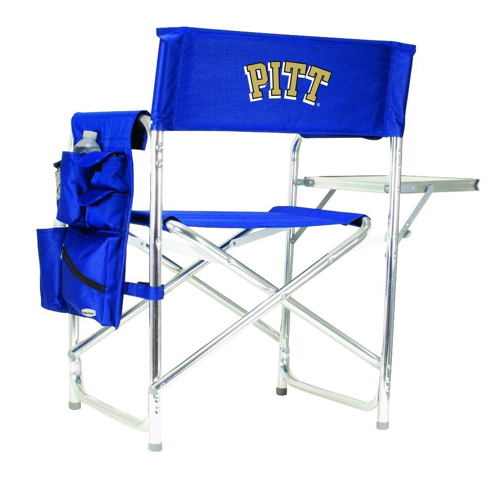 Picnic Time University of Pittsburgh Navy Sports Chair with Embroidered Logo