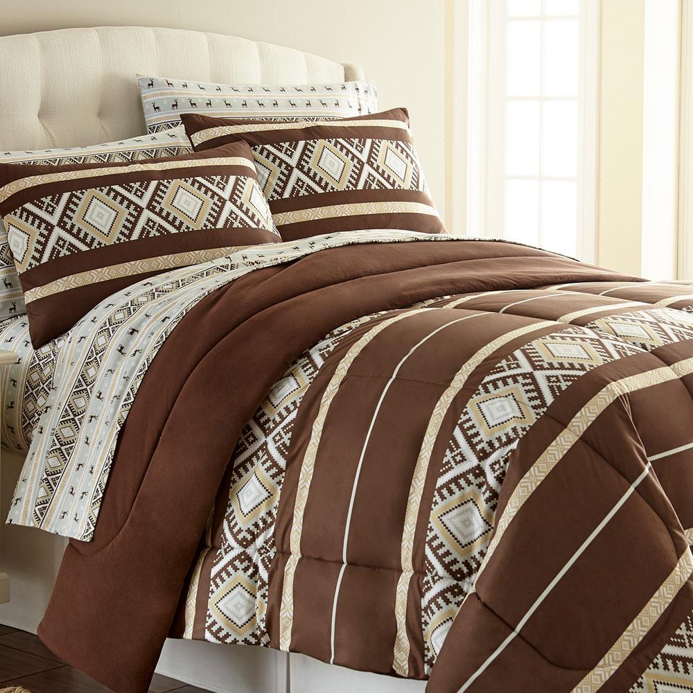 Reindeer Stripe Full Queen 4-Piece Comforter Set