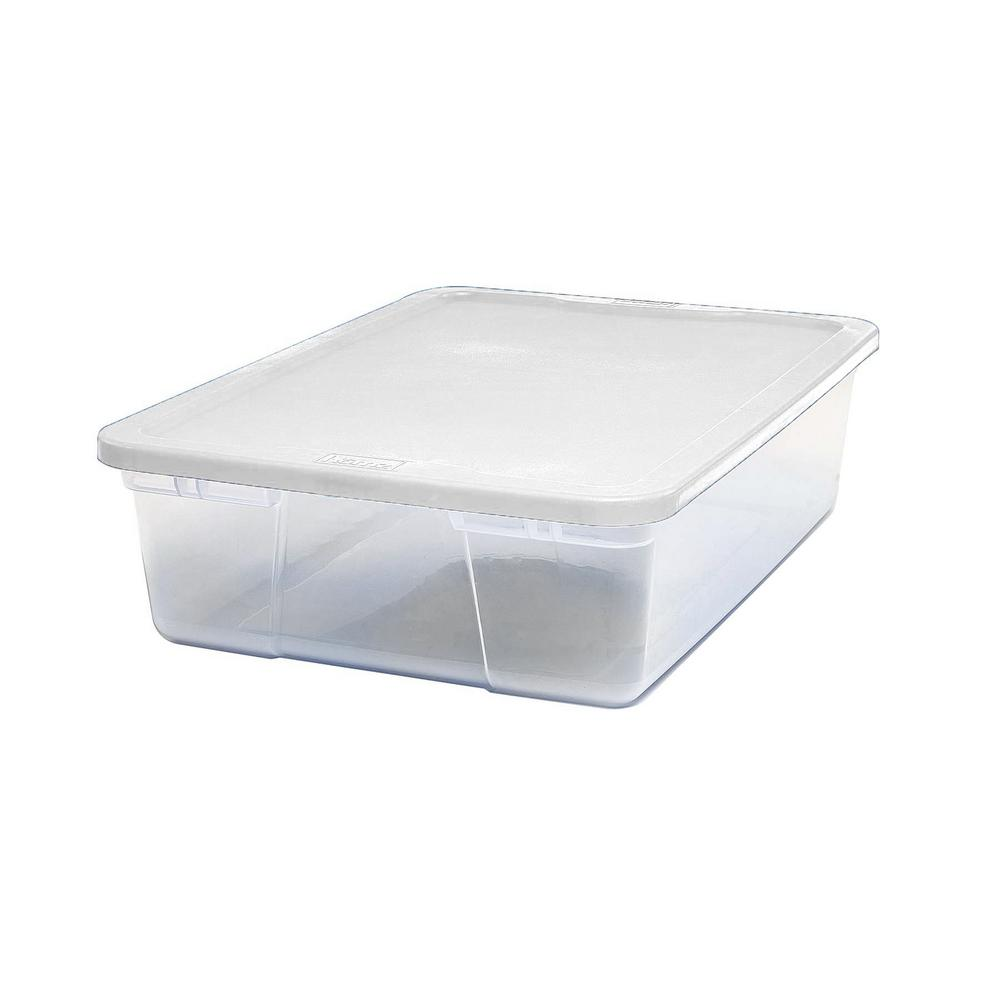 HOMZ 28 Qt. Under Bed Clear Storage Box (8-Pack)
