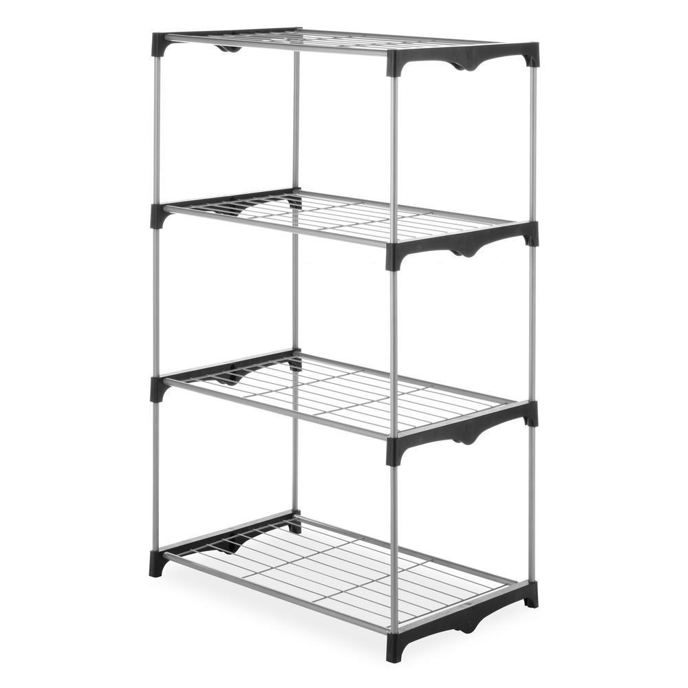 Whitmor Storage Rack 54 in. H x 31.5 in. W x 19.5 in. D 4-Tier Wire Shelving in Silver and Black
