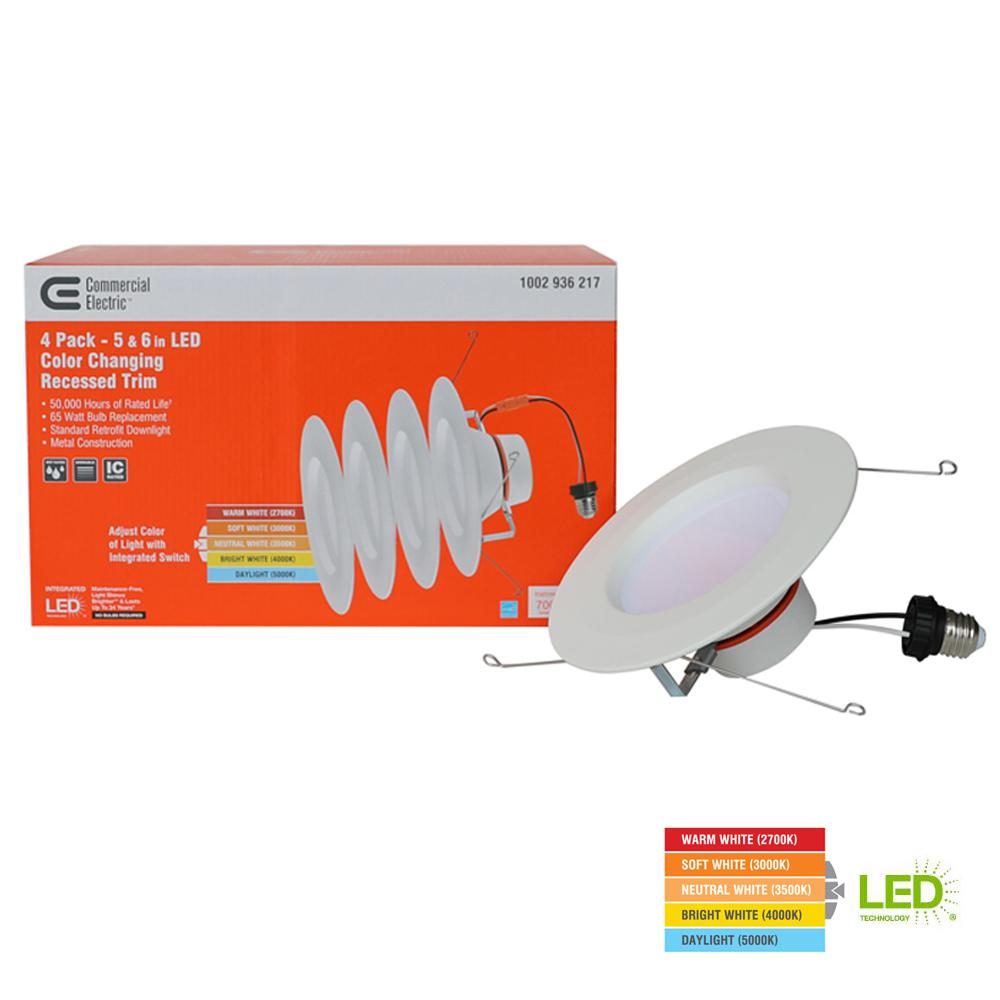 Commercial Electric 5 6 In Matte White Integrated Led Recessed Trim Ways 4 Pack Ns01aa11fr1 259 The Home Depot