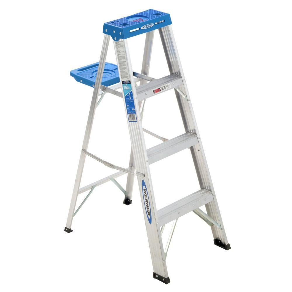 Werner 4 ft. Aluminum Step Ladder with 250 lb. Load Capacity Type I Duty Rating