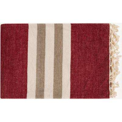 Mack Burgundy Cotton Throw
