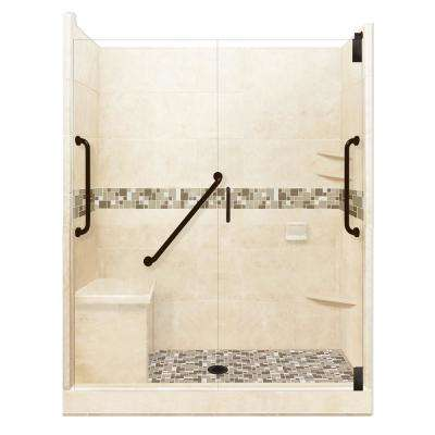 Tuscany Freedom Grand Hinged 34 in. x 60 in. x 80 in. Center Drain Alcove Shower Kit in Desert Sand and Old Bronze