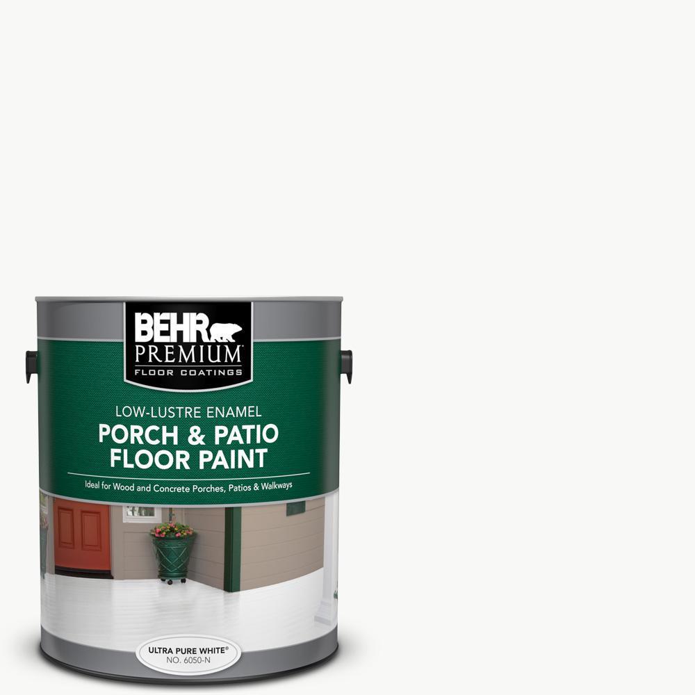 BEHR Premium 1 gal. Ultra Pure White Low-Lustre Enamel Interior/Exterior Porch and Patio Floor Paint