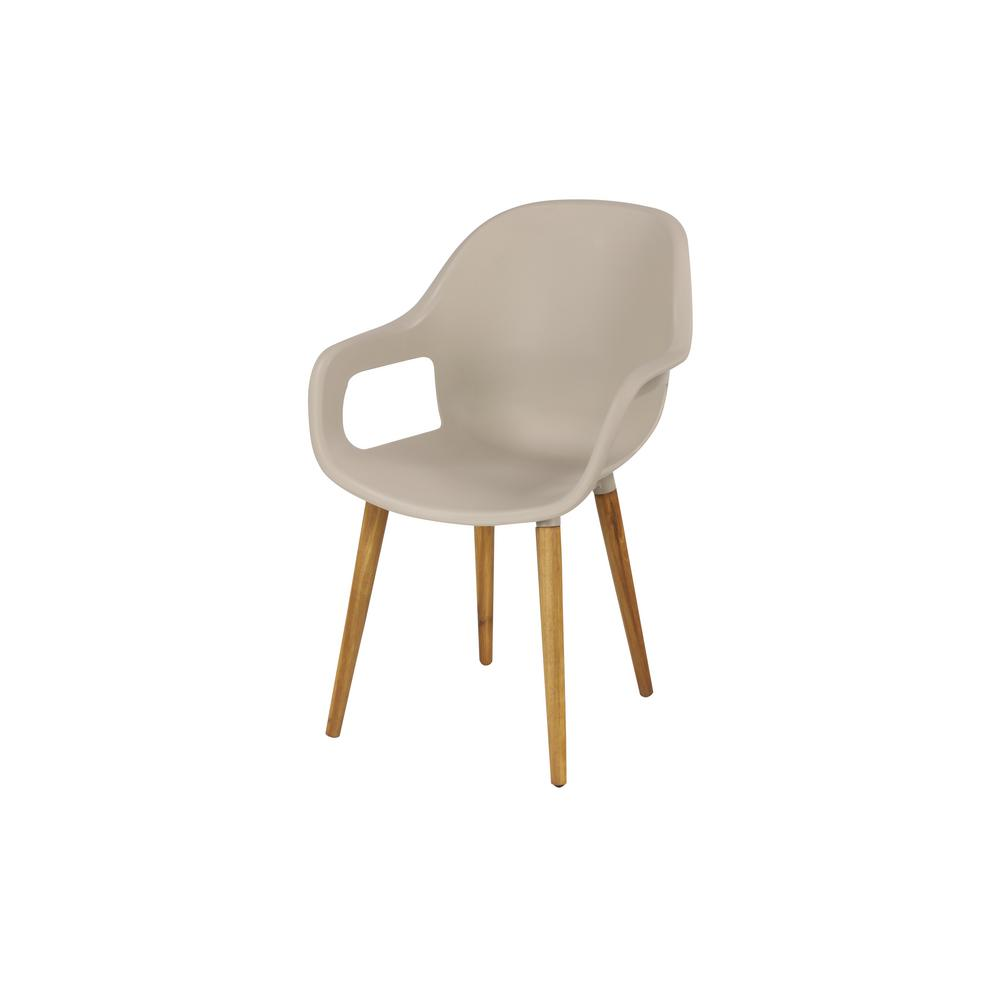 Modern Indoor And Outdoor Gray Plastic Dining Chair With Acacia Wood Legs