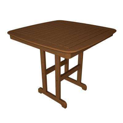 Nautical 44 in. Teak Plastic Outdoor Patio Counter Table