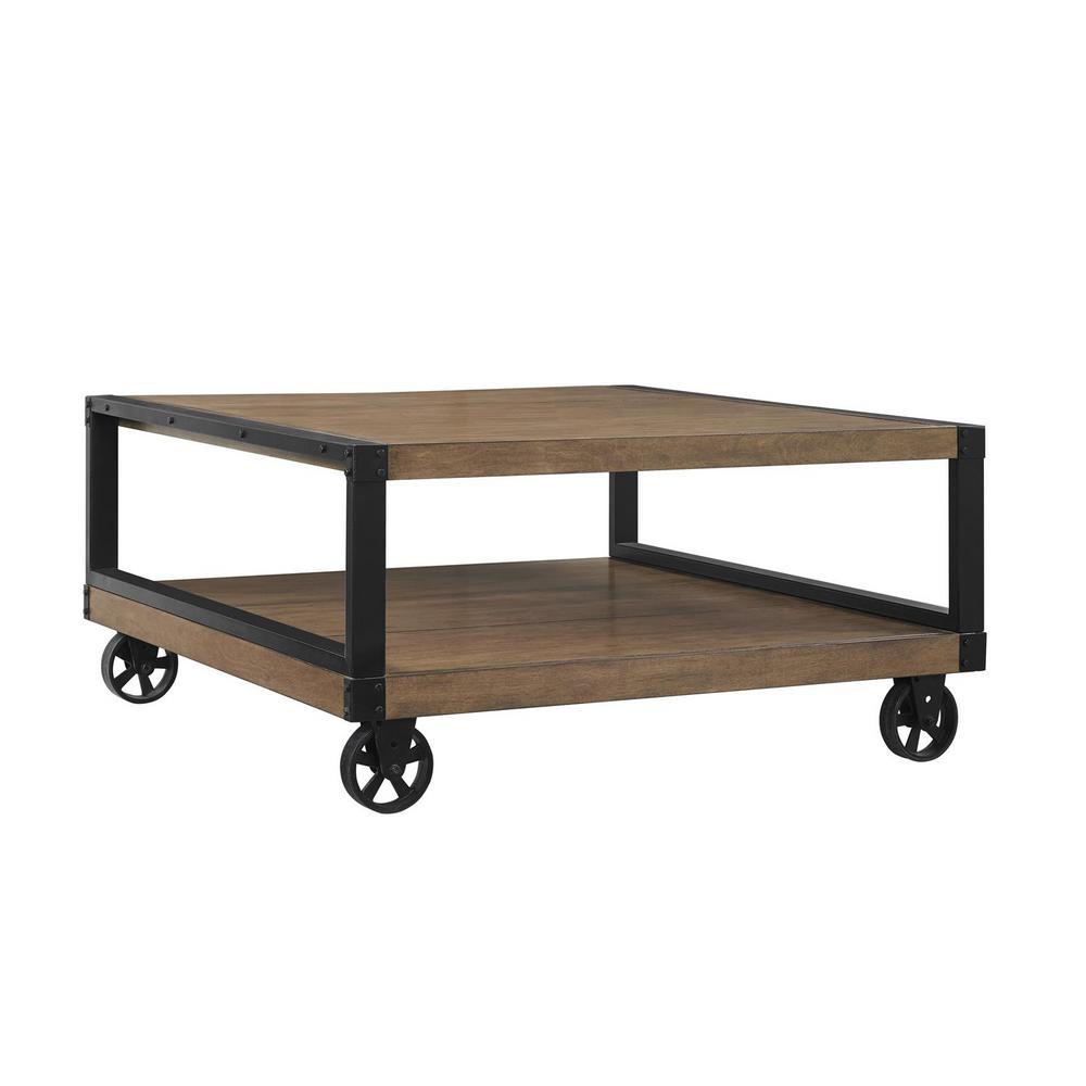 Ameriwood Home Fenwick Rustic Gray Mobile Coffee Table