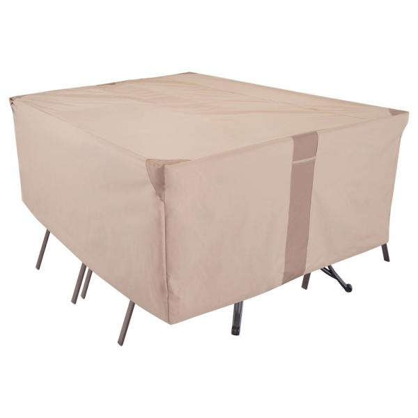 Monterey Water Resistant Rect/Oval Outdoor Patio Table and Chair Cover, 108 in. W x 82 in. D x 23 in. H, Beige