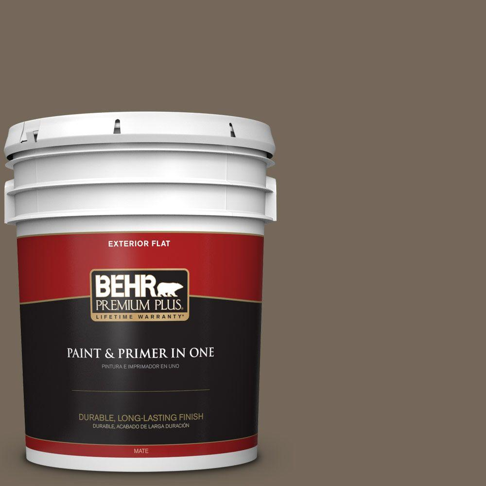 BEHR Premium Plus 5-gal. #720D-6 Toasted Walnut Flat Exterior Paint