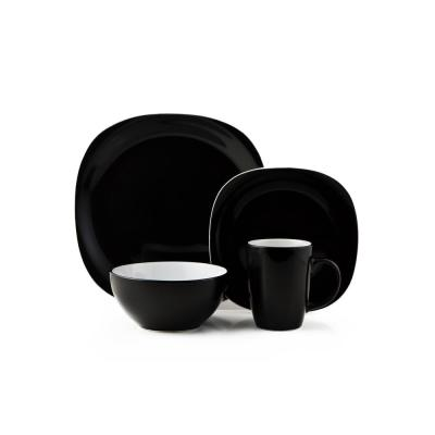 Duo Quadro 16-Piece Casual Black and White Ceramic Dinnerware Set (Service for 4)