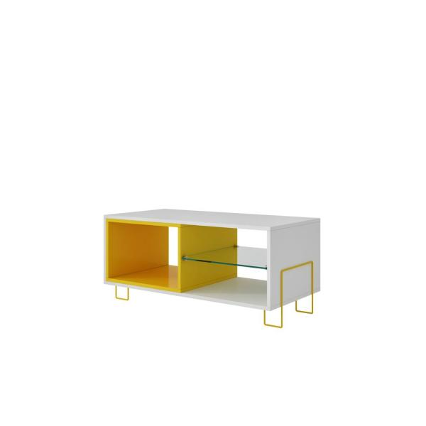 Manhattan Comfort Boden White and Yellow Entertainment Center 98AMC128