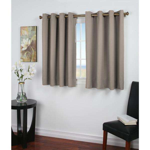 Ultimate Blackout 56 in. W x 45 in. L Polyester Short Length Blackout Window Panel in Grey