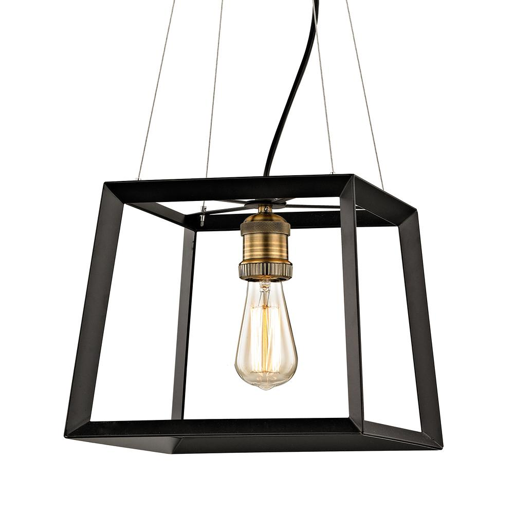 Fifth And Main Lighting Austin 1 Light Black Frame Square Pendant With Antique Br Socket