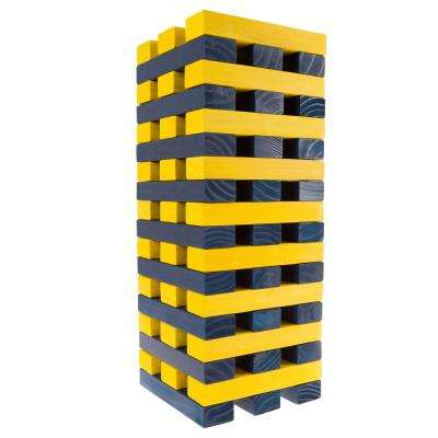 Nontraditional Blue and Yellow Giant Wooden Stacking Game