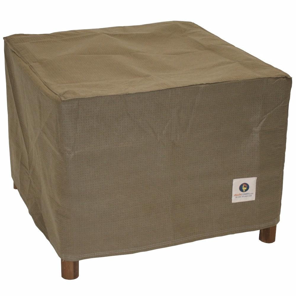 Duck Covers Essential 32 In Tan Square Patio Ottoman Or